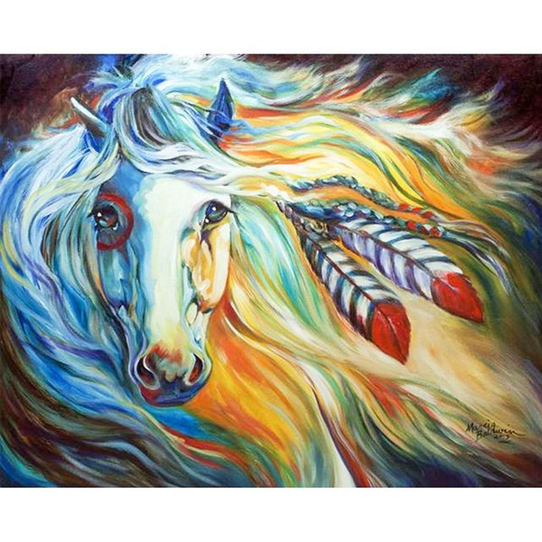hot sale canvas wall art painting kit horse oil painting Full Paste cotton Square Cross Stitch Home Decoration Paintings drop shipping