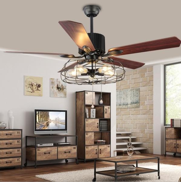 Loft Vintage Ceiling Fan Light E27 Edison 5 Bulbs Pendant Lamps Ceiling Fans Light 110V 220V 52 In. 5 Wooden Blades ( Bulbs included)