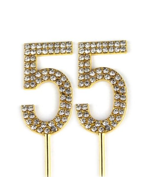 Number 55 Cake Topper 55th Baby Birthday/Wedding Anniversary Cupcake Topper Gold Alloy/Meta with Glitter Crystals Cake Decorati35