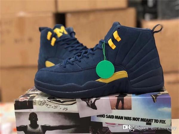 555d2e1ddc9035 2018 Release 12 RTR MICHIGAN NRG MICHIGAN x PSNY Navy Blue 12S Men  Basketball Shoes Authentic
