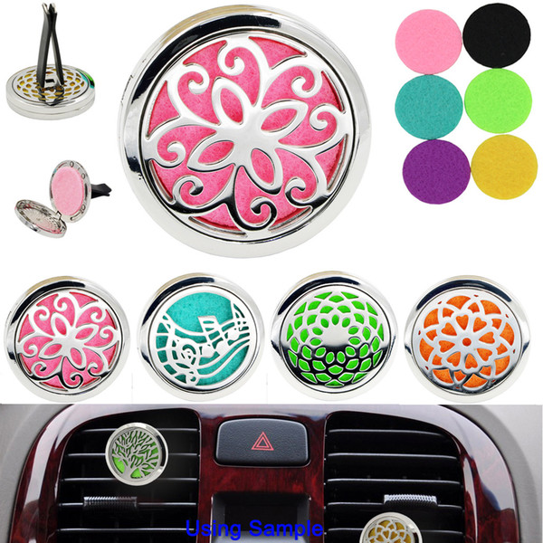 best selling New Aromatherapy Home Essential Oil Diffuser For Car Air Freshener Perfume Bottle Locket Clip with 5PCS Washable Felt Pads (Retail)