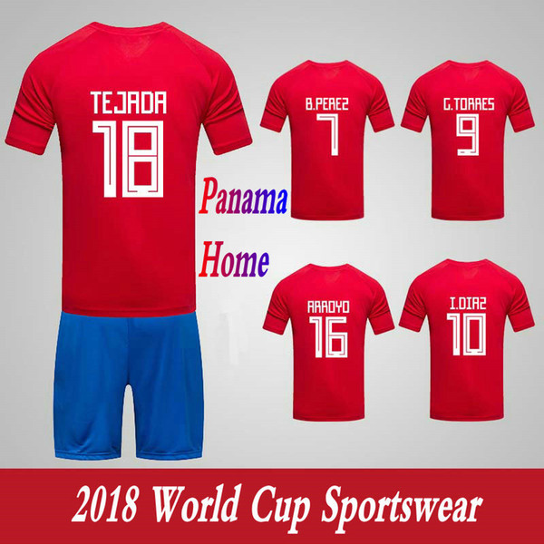 Men Clothing Tracksuits Panama National Team Home Football Sport Suits 2018 World Cup Soccer Uniform Clothes Shorts.