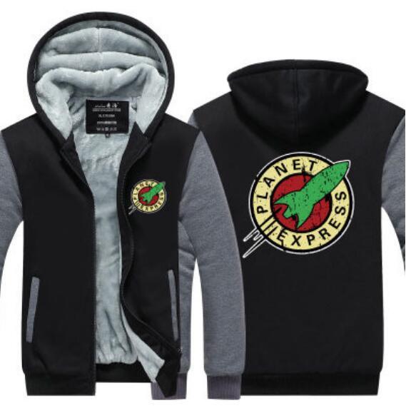 Planet Express Cashmere Hoodie New Winter Thicken fleece Cotton Zipper Casual Coat Jacket Super Warm Sweatshirt USA EU Size Plus Size