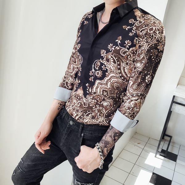 British Style Luxury Print Shirt Men Slim Fit Long Sleeve Casual Dress Shirts Men's Clothing Turn Down Collar Prom Tuxedo 3XL-M