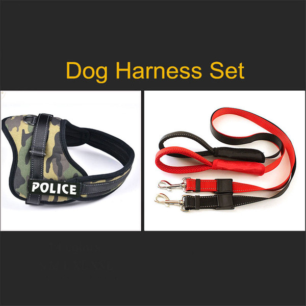 Reflective Nylon Large Pet Dog Harness All Weather Police Dog Vest Padded Adjustable Safety Vehicular Lead For Dogs Pet