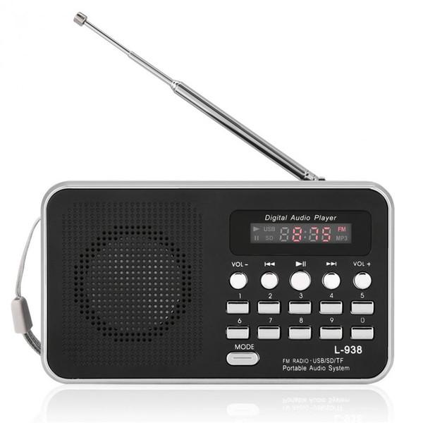 L-938 Portable Mini FM Radio Rechargeable 850mAh baery Digital Audio Player HiFi Music Speaker Support TF SD USB AUX w/Display