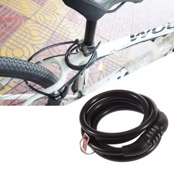 Wholesale 1pc 4 Digital Bike Code Cable Lock Cycling Bicycle Combination Bike Chian Lock free shipping Drop Shipping