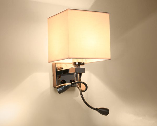 Modern LED Wall Lamp Fabric Lampshade Bedroom Bedside Sconce Flexible Reading Light Fixture Aisle Wall Mount Lighting