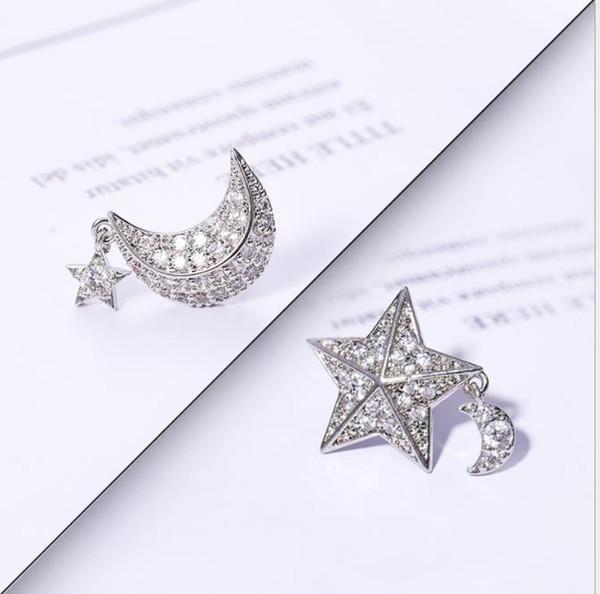 Asymmetric stars, moon, diamond stud earrings, Korean fashion, personality, Zircon Earrings, 925 silver needles.