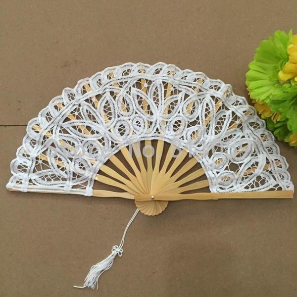 27 cm blanc battenburg dentelle ventilateur de mariage ventilateur de la main pour la mariée blanc à la main en coton dentelle pliage à la main fan partie de mariage cadeau de décoration de mariage