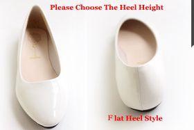 White Flat heel height: