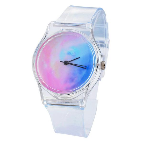 Men Sport Casual Quartz Wristwatches Novelty Crystal Ladies clock Transparent Clock Silicone Watches Cartoon fashion hot sale