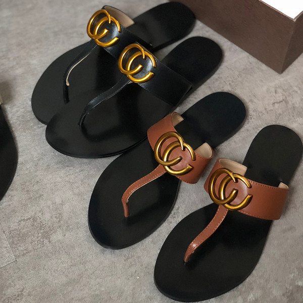 designer slippers women house luxury slippers flip-flops in the summer color cool slippers anti-skid thick soles beach shoes Metal sandals