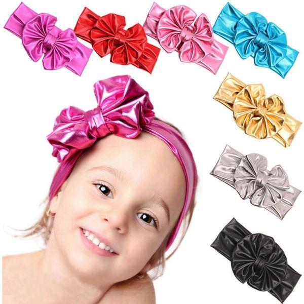Metallic Colors Leather Children Baby Girls Big Elastic Hair Bows Head Wraps Turban Bands Bandana Headband Hair Accessories