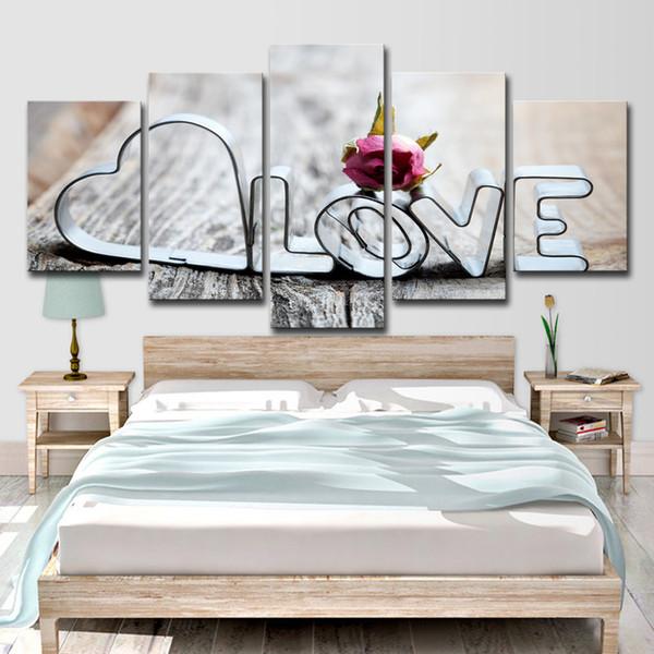 Tela HD Stampa Immagini Living Room Wall Art 5 Pezzi Amore Parole romantiche Pittura Ristorante Home Decor Rose Poster