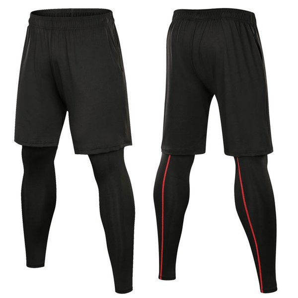 Running Pants for Men Training Professional Gym Shorts + Legging Elastic Jogging Tights 2 Piece Men Sports Clothing Set 1020