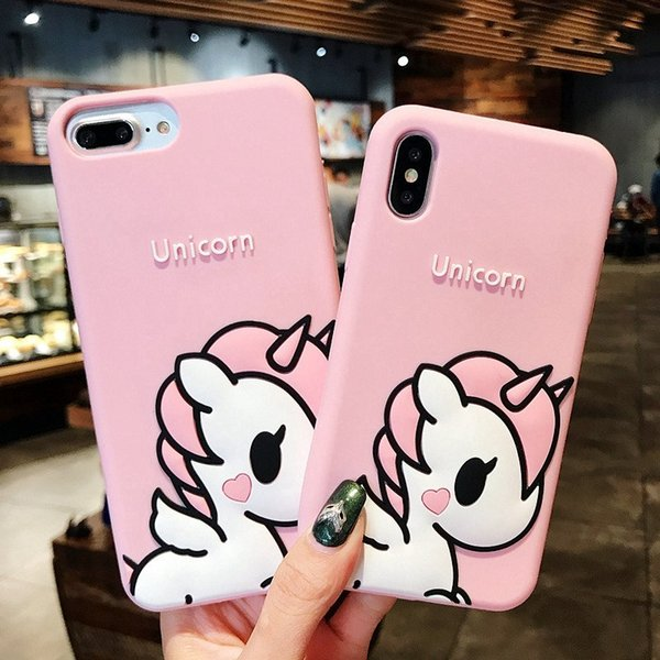 For iPhone X XS Max XR 8 Plus 7 6 New 3D Cute Cartoon Pink Unicorn Soft Rubber Silicone Shockproof Protective Case Cover For Girls Kids