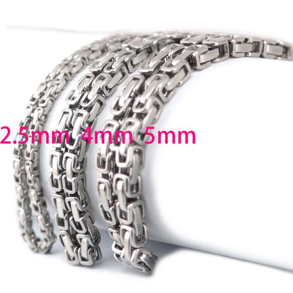2.5mm 4mm 5mm Hombres Cadena Tono de Plata 316 Acero Inoxidable Bizantino Box Link collar cadena