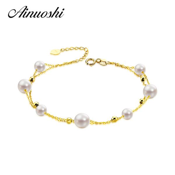 AINUOSHI 18K Yellow Gold Natural Cultured Freshwater Pearl Bracelet Female Elegant Pearl Pulsera Bracelet Jewelry Christmas Gift S18101308
