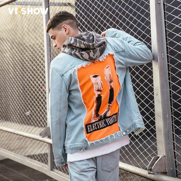 VIISHOW Men Punk Denim Jacket Print Patch Designs Coats Streetwear Fashion Letter Hip Hop Jackets Jaqueta Masculina JC1645181