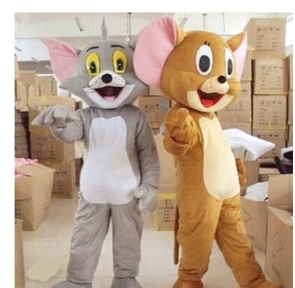 New Tom Cat e Jerry Mouse traje da mascote, Tom e Jerry bonecas dos desenhos animados desempenho roupas frete grátis