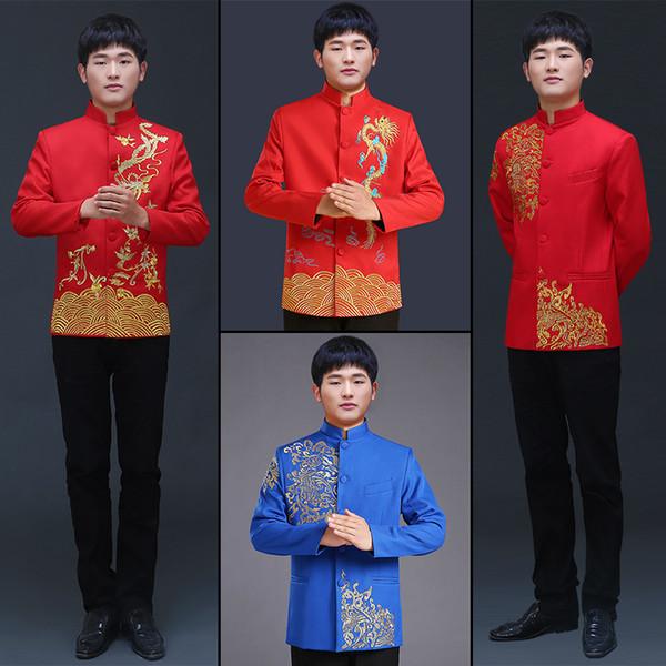 Ropa de hombre pratensis estilo chino boda Top the groom dragón vestido de noche Red Top delgado rojo tang traje túnica china
