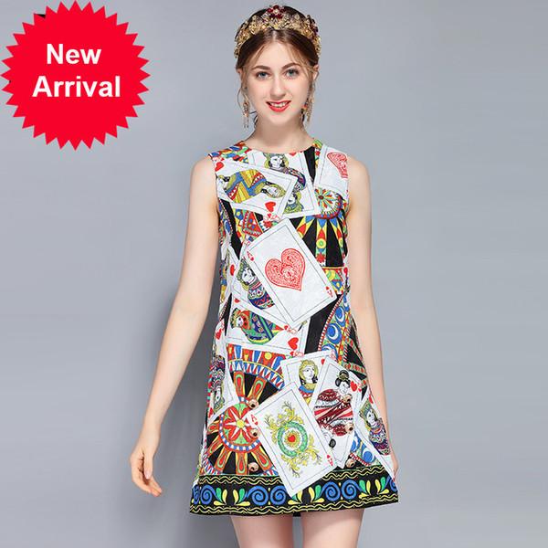 New 2018 Fashion Runway Summer Dress Women's Sleeveless Vest Luxury Button Poker Printed Vintage Dress vestido
