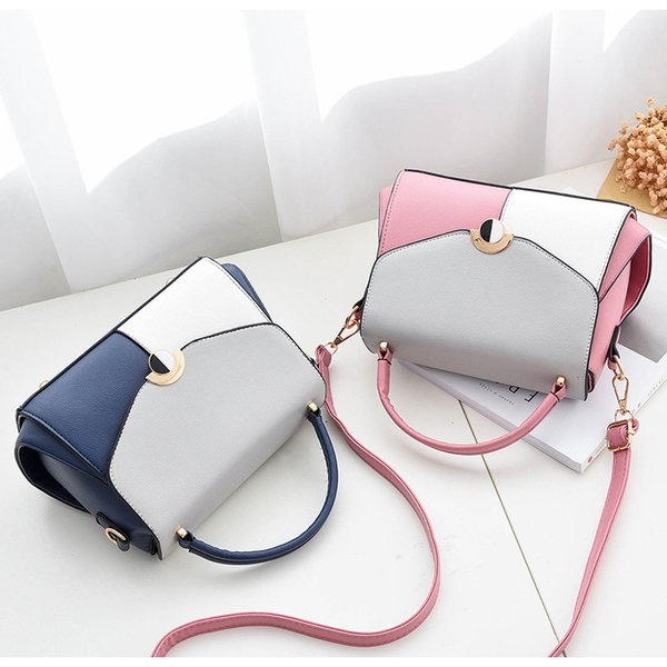 New Sequined Lock Women Bag High Quality Two-tone PU Leather Women Messenger Patchwork Bags Casual Crossbody Bag