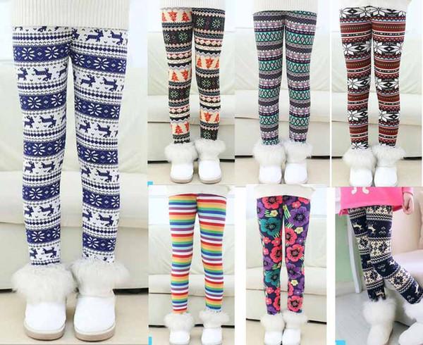 11 Styles kids footless leggings new Christmas Design Print thick with cashmere milk silk girl leggings winter kids leggings size 100-150cm