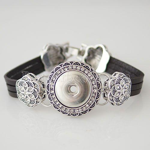 Wholesale-Hot seller High Interchangeable snap jewelry for leather ginger snaps bracelet in charm bangel fit 18-20mm snaps buttons KB0251