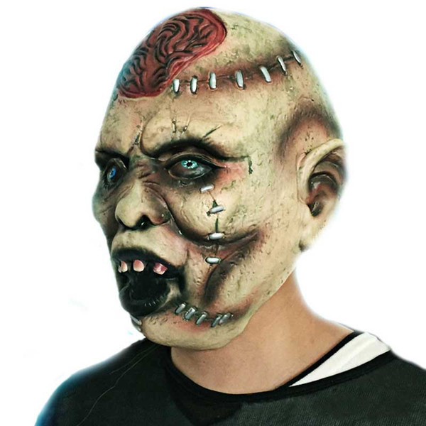 Halloween Adult Mask Latex Bloody Scary Burst Brain Masks Extremely Disgusting Full Face Mask Costume Party Cosplay