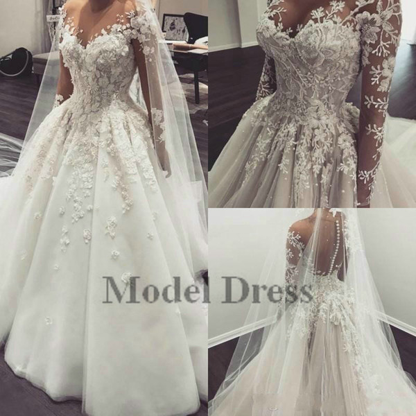 Illusion Long Sleeve Ball Gown Wedding Dresses Made in China Sheer Neck 3D Appliques Buttons Fashionable Bridal Gowns vestidos de noiva