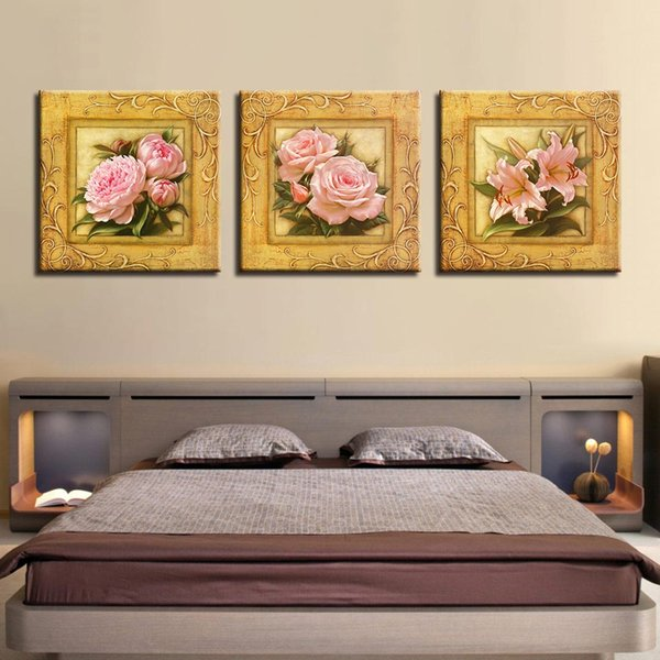 Home Decor HD Prints Canvas Posters Framework 3 Pieces Pink Peony Rose Lily Paintings Wall Art Flowers Pictures For Living Room