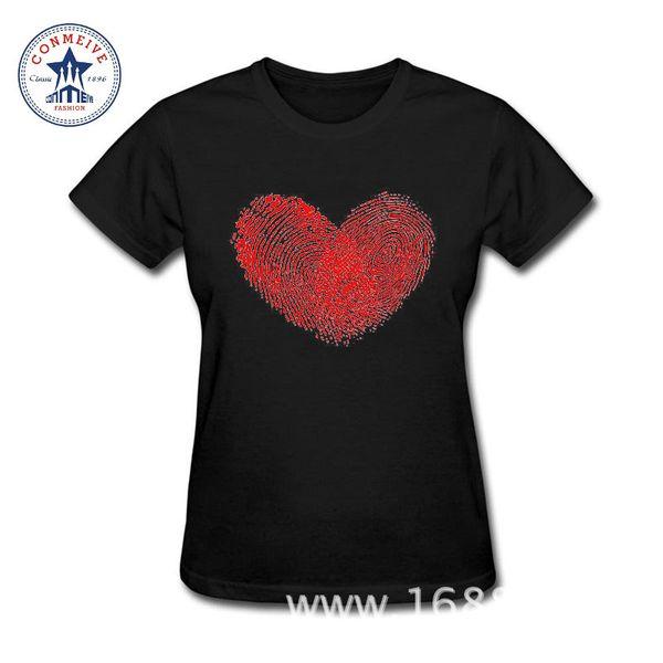 Mulheres Roupas de Manga Curta Tshirt Impressões Digitais Amor Coração Impressão Mais Recente Moda Algodão Engraçado Camiseta Mulheres
