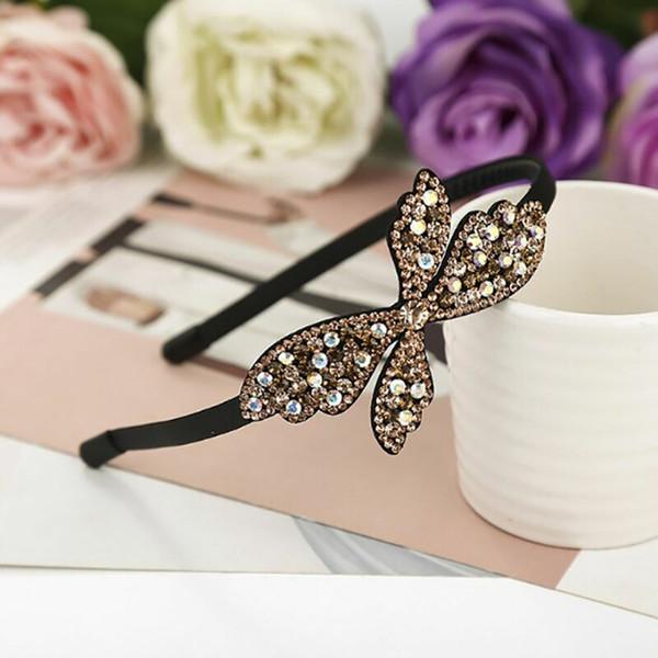 1 unid Luxury HairBands Sparkly Corea caliente moda mujeres accesorios para el cabello de moda grande cristal Rhinestone boda nupcial diadema 6012