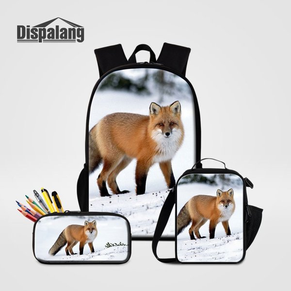 Dispalang 3 PCS/SET Fox Printing School Backpack for Children Lunch Cooler Bag With Pencilcasbag Schoolbag Casual Bagpack