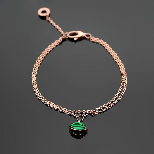 316L titanium steel B letter natural green agate skirt couple bracelet 18K plated rose gold white shell fan shaped ladies double bracelet