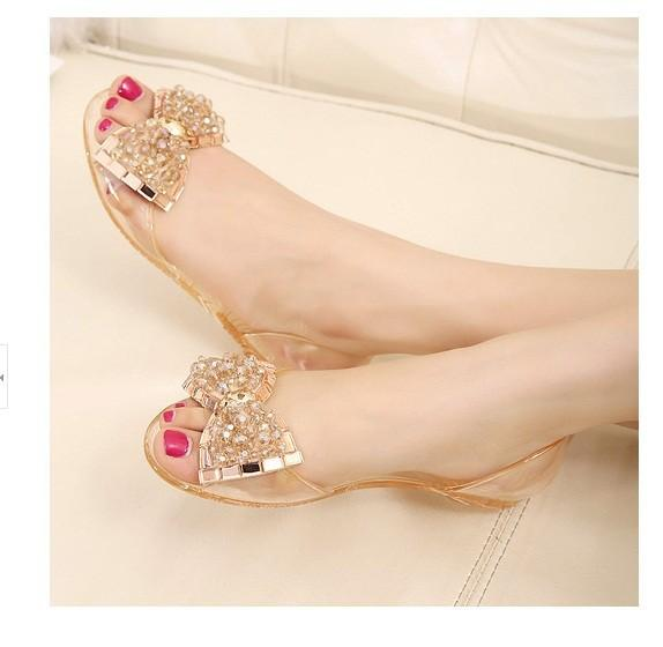 2017 Moda Melissa jöle Rhinestones Flip flop yay Glitter sandalet womenTransparent düz Tek ayakkabı