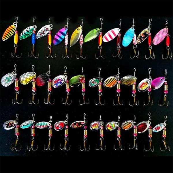 Hot 30 pçs / lote Spinners Isca De Pesca Cor Misturada / Tamanho / Peso Colher De Metal Iscas de Pesca Isca Rígida Enfrentar Isca De Metal Atificial Isca Y1892114