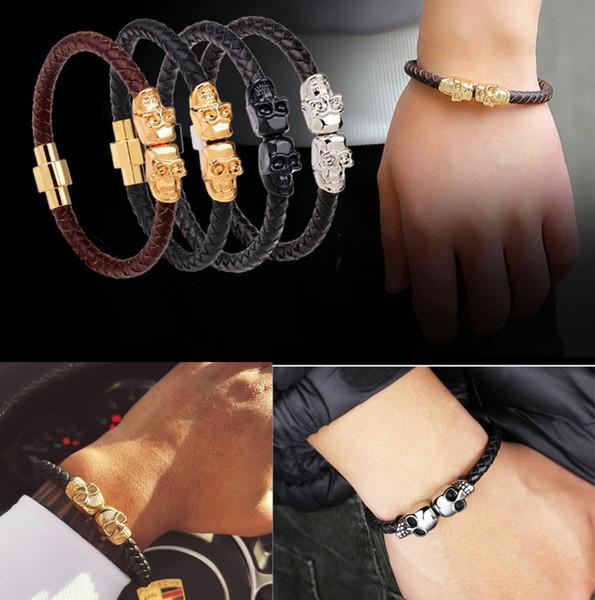 Punk Genuine Leather Bracelets Bangle Double Skull Charm Bracelet Men Women Woven Leather Rope Jewelry designer bracelet