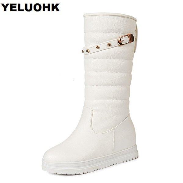 Nouveau Rivet Milieu Mollet Neige 27 Arriver Chaude Forme Bottes Femmes Mode Blanc52 Femme Hiver Chaussures Acheter De Plate kn0OwP
