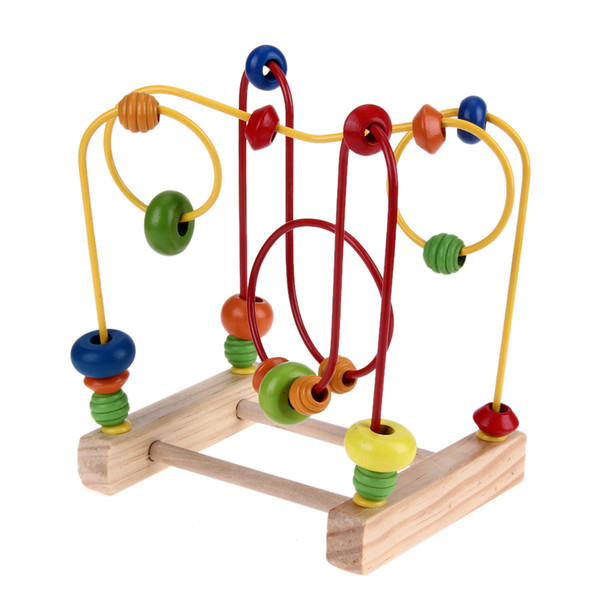 Wooden Baby Math Toys Counting Circles Bead Abacus Wire Maze Roller Coaster Around Beads Wire Maze Educational Toys