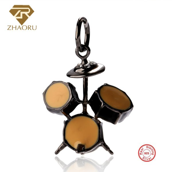 925 Sterling Silver Pandora Charm with Drum set Enamal Charm Fit Pandora Bracelet & Bangle And Necklace P2167