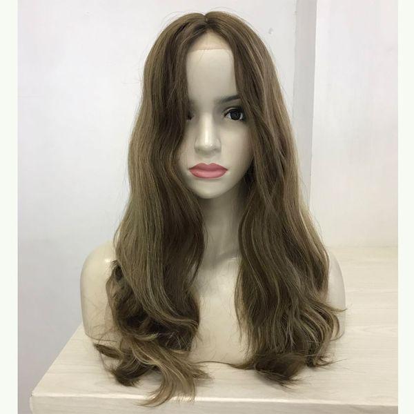 "Front Lace European Hair Multidirectional Silk Wig 12""-30"" Wavy Wig Sheitel Medium Brown/ Highlights Jewish wig"