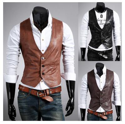 Men Leather Dress Vest Autumn Spring Style High Quality Fashion Chaleco Hombre Casual Brown Suit Vest Men Slim PU Men Vest