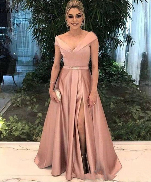 2018 Arabic A Line Evening Dresses V Neck Cap Sleeves Sash Ruched Draped Side Slit Long Sweep Train Dubai Prom Party Gowns Custom