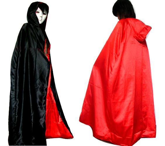 Freies Verschiffen Adult 170cm, 150CM schwarz RED Capes mit Hut, Halloween Kostüm Theater Prop Death Hoody Umhang Teufel Long Tippet Cape