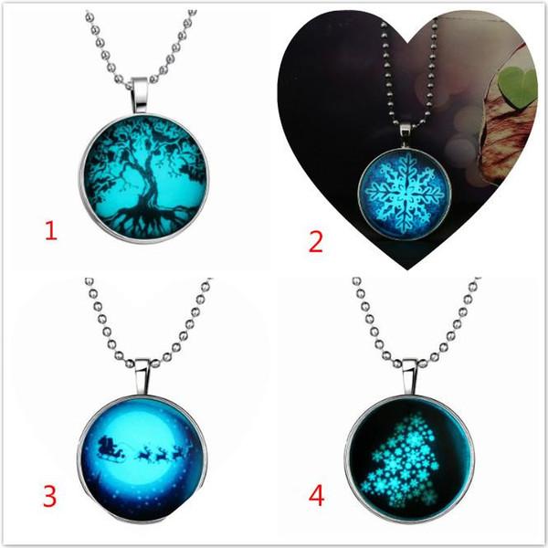 Christmas Tree Snowflake Gem Luminous Pendant Chain Alloy Round Dark Illuminate Jewelry Women Gift