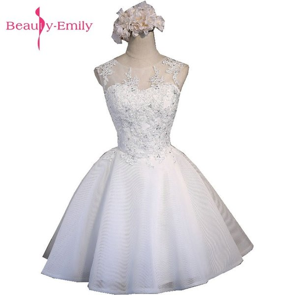 Beauty-Emily Real Photos White Tulle Prom Dresses 2018 Scoop Lace Up Knee-Length Prom Dress Short Party Evening Dresses C18111601