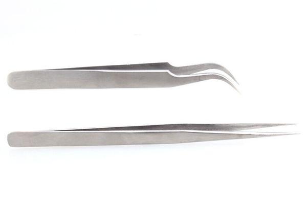 5A silberne Pinzette gerade / Kurvennagelrhinesteinquetschwalzen-Wimperverlängerungswerkzeuge für Salonauge bilden Schönheitsproduktversorgung